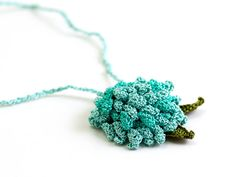 Crochet Lace Rose Necklace Mint Pendant Hippie by PinaraDesign