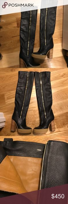 Chloe over the knee leather boots with rubber toe Black leather over the knee boots in Great condition with wear only twice soft black leather. Light scratches on sole me heel Chloe Shoes Over the Knee Boots
