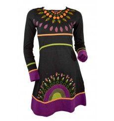 Robe ethnique Moshiki motifs colorés