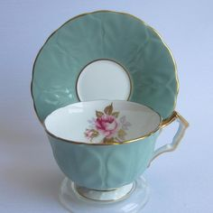 Aynsley 1854 Embossed Olive Green Crocus Shape Bone China Tea Cup & Saucer #Aynsley