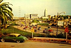 Vintage Post Card: Los Angeles Civic Center From Hollywood Freeway  On back of card: The Hollywood Freeway is one of a vast network of major highways engineered and designed to provide unobstructed driving to and from the metropolitan area of Los Angeles.