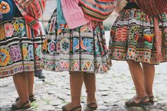 This image shows the embellishment used throughout the puyto section of the pollera. The puyto is the band that wraps around the skirt, and it usually has a colourful pattern that represents where the Quechua woman is from.