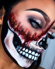 Halloween Makeup Blood, Halloween Skeleton Makeup, Amazing Halloween Makeup, Mask Makeup, Clown Makeup, Sfx Makeup, Helloween Make Up, Horror Makeup, Special Effects Makeup