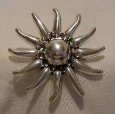 Vintage 1980's Silver Sun Brooch/Pendent SOLD