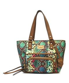 This Brown & Jewel-Tone Double-Take Tote is perfect! #zulilyfinds