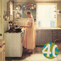 """It is Gudrun standing in her kitchen at her cottage in Asken in the 1970s. A place where she still finds a lot of her inspiration!"" It reminds me of an ""Carl Larsson"" painting! #Gudrun40years"