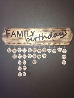 Wood Crafts - Check out this cool family birthday calendar board! Family Birthday Calendar, Family Calendar, Family Birthday Board, Christmas Calendar, Advent Calendar, Home Projects, Home Crafts, Diy And Crafts, Craft Projects