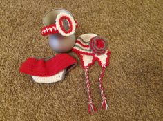 Crochet Ohio State Outfit- Hat, Diaper Cover, and Headband! on Etsy, $30.00