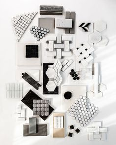 Zach DeSart Photography, mood board in white, grey and black. Worked with Simon Doonan and Jonathan Adler