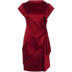 KAREN MILLEN Satin Fold Cocktail Dress ❤ liked on Polyvore featuring dresses, mini cocktail dresses, red satin cocktail dress, red mini dress, burgundy dress and red satin dress