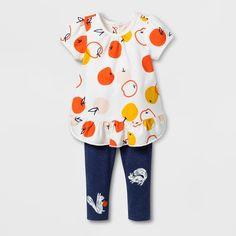 420a434d0 Baby Girls' 2pc Ruffle Hem Jersey and Leggings Set - Cat & Jack™ Navy