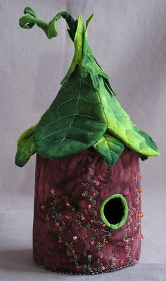 Quilted Birdhouse -   Birdhouses created by Goffstown, NH artists - this one's mine! I also created some necklaces of mini birdhouses with the fabric remants. So cute!