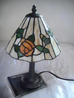 Tiffany-Style Stained Glass Mini Lamp w/Clock Set