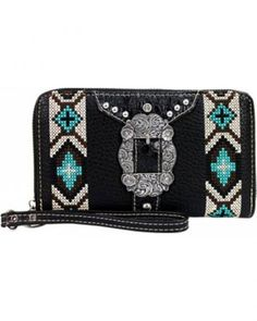 MONTANA WEST Sugar Skull Navy//Multi Colored Embroidery Ladies Wallet  New W//Tag