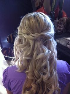 twisted and curled wedding hair