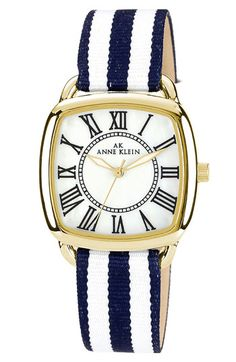 AK Anne Klein Stripe Strap Watch - love the navy and white nautical look