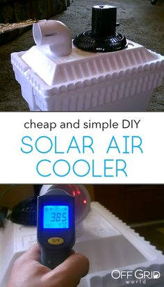 Cheap and easy solar powered air cooler - Diy Solar Energy Panels, Best Solar Panels, Solar Energy System, Bucket Air Conditioner, Homemade Air Conditioner, Solar Powered Air Conditioner, Camping Air Conditioner, Cheap Air Conditioner, Solaire Diy