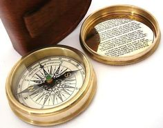 Provided Golden Brass Stanley London Poem Compass With Leather Case Nautical Pocket Gift Antiques
