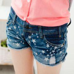 Star-Print Denim Shorts from #YesStyle <3 rico YesStyle.com