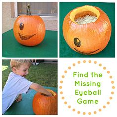 Find the Eyeball Game -- put several black bouncy balls in a pumpkin filled with cooked spaghetti!
