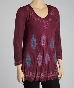 Take a look at this Fuchsia Embroidered Tunic by India Boutique on #zulily today!