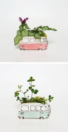 Simply Sweet Classic Car-Inspired Ceramic Planters Adorable and nostalgic, ceramicist Julie Richard's handcrafted creations are simply sweet. From a VW Westfalia to a classic car—everyones. Ceramic Clay, Ceramic Planters, Ceramic Pottery, Diy Clay, Clay Crafts, Diy And Crafts, Moodboard Interior, Cerámica Ideas, Clay Projects