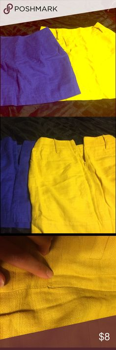 2 forever 21 skirts size small. Yellow and blue This is for two forever 21 brand skirts. Size small in good condition for the most part. The seam at the bottom of the zipper is coming u stitched on the mustard yellow skirt seen in the 3rd pic and the belt loop on the right side is unstitched but still connected (4th pic) the 5th pic shows the blue skirt to have the same problem with the zipper. There is also a 1 inch wide section that is coming unstitched to the right of the zipper. Ask…