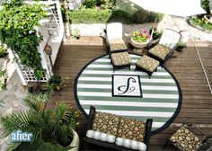 OMG! Love this painted outdoor rug- the slats made perfect stripes- this is gorgeous!!