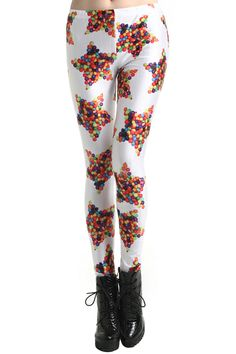 Candy Star Print Leggings. Description These Leggings have been crafted from elastic fabric design, featuring candy stars print, a stretchy waist and all in a soft-touch stretch finish. Fabric Dacron and Spandex. Washing 40 degree machine wash , low iron. #Romwe