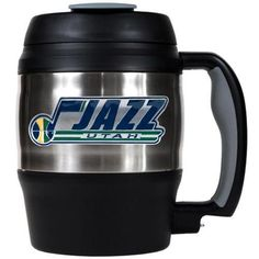 Utah Jazz large travel mug. This Jazz 52 oz stainless steel mug is perfect for any coffee drinker or sports fan on the go! The mug features a screw-top spill-resistant lid and a bottle opener under th