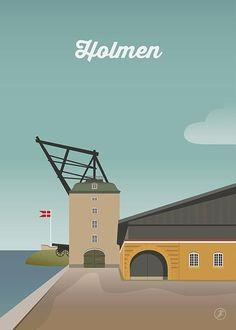Holmen - str. A3 plakat fra Jeanet kristensen Tourism Poster, Art Deco Illustration, Vintage Travel Posters, Pictures Images, Copenhagen, Denmark, Travel Inspiration, Retro Vintage, Destinations
