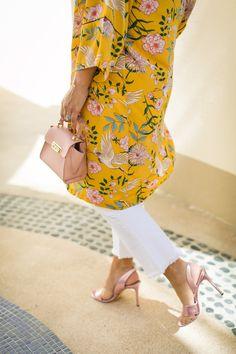 Yellow Floral Kimono + Pink Slingback Heel