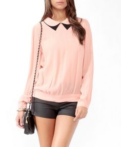 Double Contrast Collar Top  Forever21