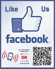 Like Us On Facebook - NFC tag and QR code two-sided sticker. Perfect for storefront windows ShoppingWallUSA http://www.amazon.com/dp/B00LLL6ZNS/ref=cm_sw_r_pi_dp_CUY.vb0WAYQ6A