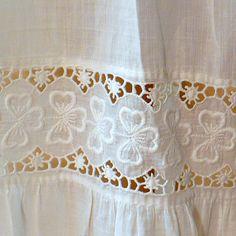 2ff8501ab85 XS Victorian Petticoat White Irish Lace Half Slip Vintage Cotton Antique.   30.00