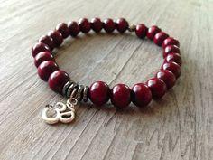 Men's Red Sandalwood OM Prayer Bracelet