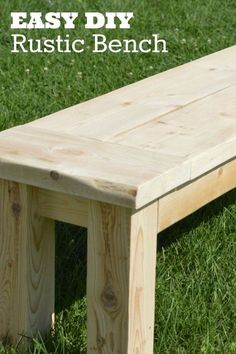 Woodworking Bench super easy rustic bench, how to, outdoor furniture, woodworking projects - This easy rustic bench can be made with only 3 boards and will take the average DIYer less than an hour to build! Use this bench indoors or out, in your garden… Carpentry Projects, Easy Woodworking Projects, Popular Woodworking, Woodworking Furniture, Diy Wood Projects, Woodworking Plans, Woodworking Basics, Youtube Woodworking, Woodworking Workshop