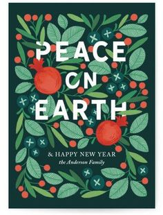 Scandinavian inspired Christmas holiday card design by artist Erin McManness This hand-illustrated card features lush holiday foliage berries and pomegranates encircling a heartfelt message to inspire peace and love Christmas Card Ideas Holiday Card Ideas