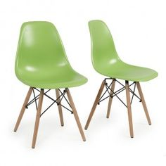 Modern Chairs | Style Plastic Molded Side Dining Chairs Modern w/ Natural Wood Legs