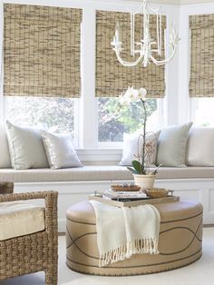For the family room:window seat + woven shades + upholstered oval ottoman Home Interior, Interior Decorating, Interior Design, Decorating Ideas, Style At Home, Woven Shades, Bamboo Shades, Sweet Home, Sweet Sweet