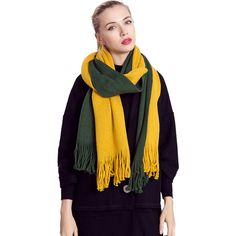 Womens Color Block Fringed Cashmere Shawl Scarf Yellow ($9.09) ❤ liked on Polyvore featuring accessories, scarves, yellow, cashmere shawl, cashmere scarves, fringe scarves, yellow shawl and yellow scarves