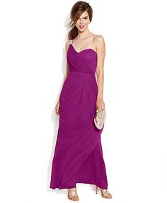 Xscape One-Shoulder Draped Faux-Wrap Gown