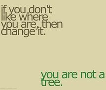 you are not a tree... move!