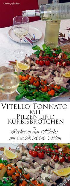 Vitello Tonnato mit Pilzen und Kürbisbrötchen kann mit Freunden zusammen ein leckerer Start in den Herbst sein. Dazu ein Glas BREE Wein.