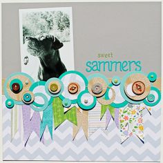 Love the circle/flag treatment here. Lawn Fawn papers +  Melissa Mann design = awesome!