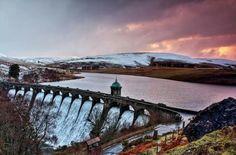 Sunset over Craig Goch dam, Elan Valley, Mid-Wales. Winter 2014