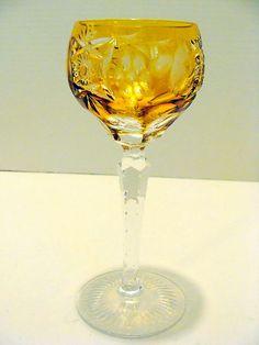 Bohemian Crystal Cut Gl Amber Wine