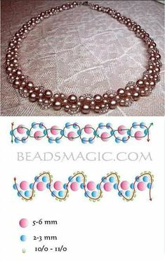 Try this necklace with crystals for large pearls Best Seed Bead Jewelry 2017 Beading Pattern for Beginners! This Pin was discovered by Ана Beaded Necklace Patterns, Bracelet Patterns, Beaded Bracelets, Bead Patterns, Embroidery Patterns, Stacking Bracelets, Bead Jewellery, Seed Bead Jewelry, Body Jewelry