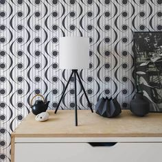 Dot Swish by Layla Faye - Monochrome - Wallpaper : Wallpaper Direct Trellis Wallpaper, Wall Wallpaper, Wallpaper Direct, Mid Century Design, Monochrome, Dots, Beautiful Wallpaper, Curtains, Australia