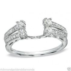 White Gold Diamond Solitaire Insert Wrap Ring Guard Solitaire Enhancer-RG221709622377